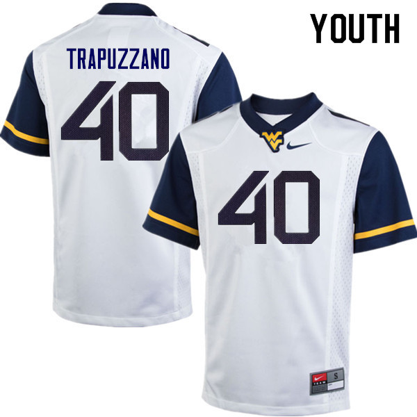 Youth #40 Sam Trapuzzano West Virginia Mountaineers College Football Jerseys Sale-White