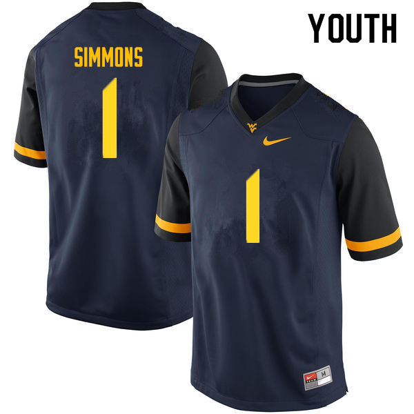 Youth #1 T.J. Simmons West Virginia Mountaineers College Football Jerseys Sale-Navy