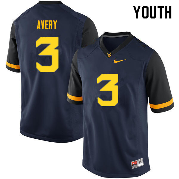 Youth #3 Toyous Avery West Virginia Mountaineers College Football Jerseys Sale-Navy