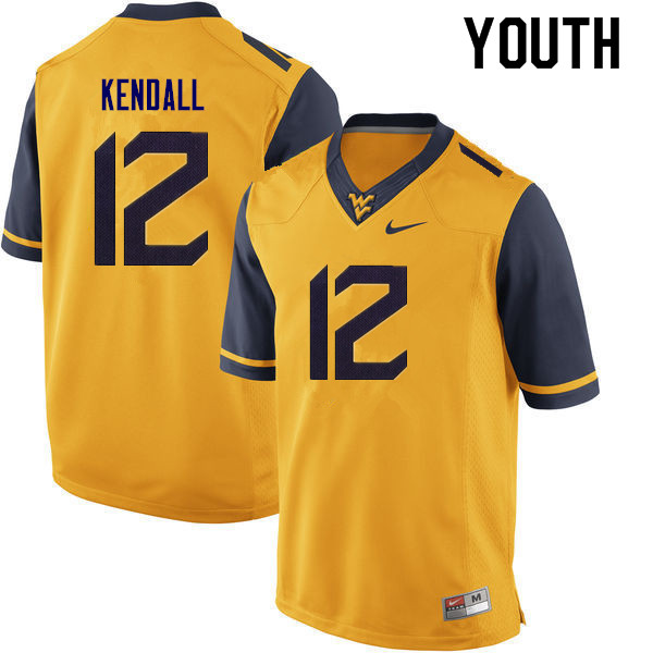 Youth #10 Austin Kendall West Virginia Mountaineers College Football Jerseys Sale-Gold