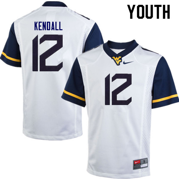 Youth #10 Austin Kendall West Virginia Mountaineers College Football Jerseys Sale-White