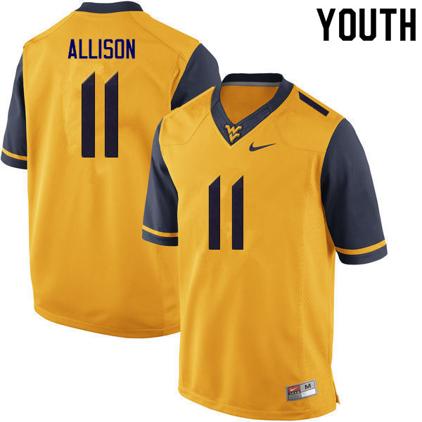 Youth #11 Jack Allison West Virginia Mountaineers College Football Jerseys Sale-Gold