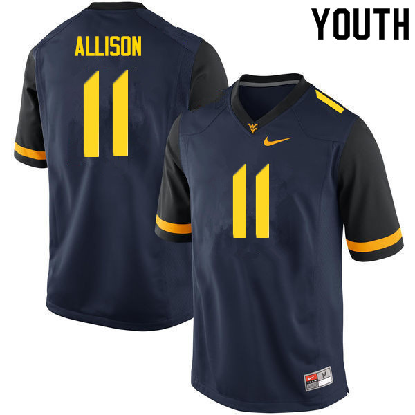Youth #11 Jack Allison West Virginia Mountaineers College Football Jerseys Sale-Navy