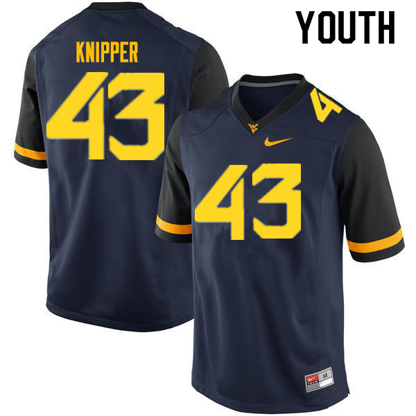 Youth #43 Jackson Knipper West Virginia Mountaineers College Football Jerseys Sale-Navy