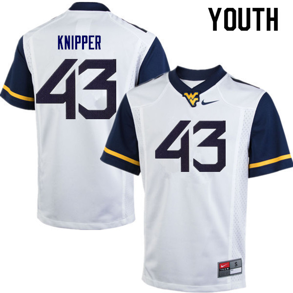 Youth #43 Jackson Knipper West Virginia Mountaineers College Football Jerseys Sale-White