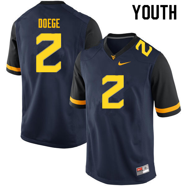 Youth #2 Jarret Doege West Virginia Mountaineers College Football Jerseys Sale-Navy