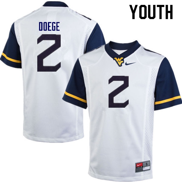 Youth #2 Jarret Doege West Virginia Mountaineers College Football Jerseys Sale-White