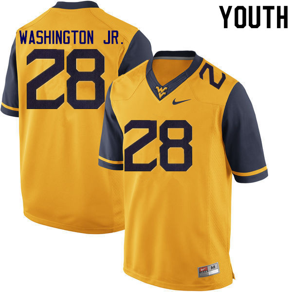 Youth #28 Keith Washington Jr. West Virginia Mountaineers College Football Jerseys Sale-Gold