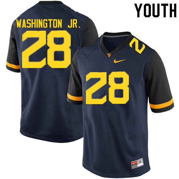 Youth #28 Keith Washington Jr. West Virginia Mountaineers College Football Jerseys Sale-Navy
