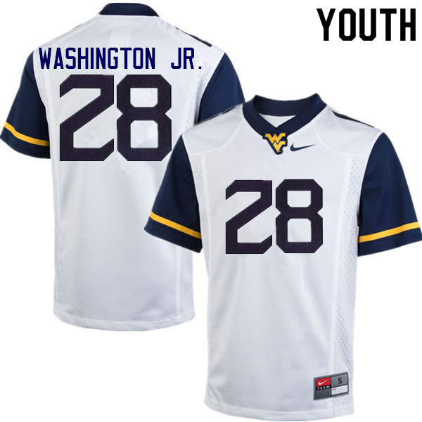 Youth #28 Keith Washington Jr. West Virginia Mountaineers College Football Jerseys Sale-White