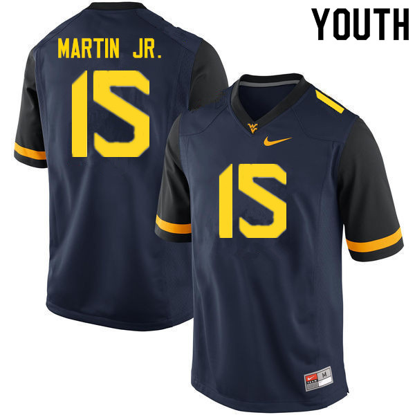 Youth #15 Kerry Martin Jr. West Virginia Mountaineers College Football Jerseys Sale-Navy