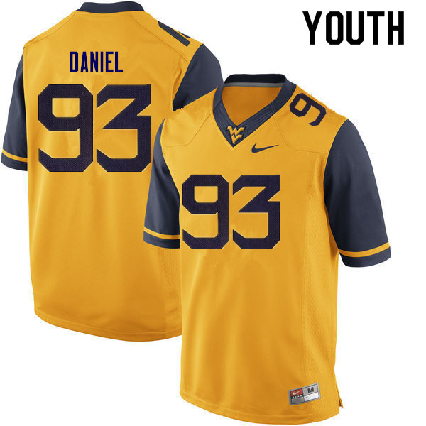Youth #93 Matt Daniel West Virginia Mountaineers College Football Jerseys Sale-Gold