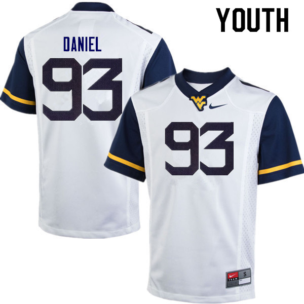 Youth #93 Matt Daniel West Virginia Mountaineers College Football Jerseys Sale-White