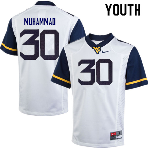 Youth #30 Naim Muhammad West Virginia Mountaineers College Football Jerseys Sale-White