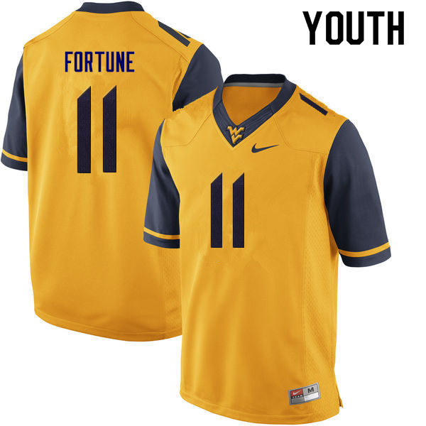 Youth #11 Nicktroy Fortune West Virginia Mountaineers College Football Jerseys Sale-Gold