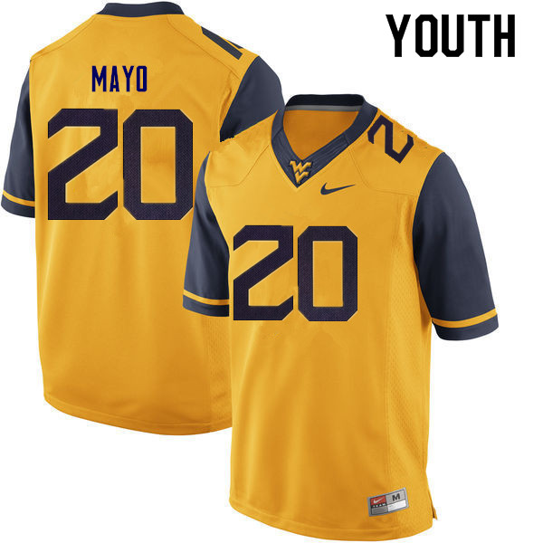 Youth #20 Tae Mayo West Virginia Mountaineers College Football Jerseys Sale-Gold