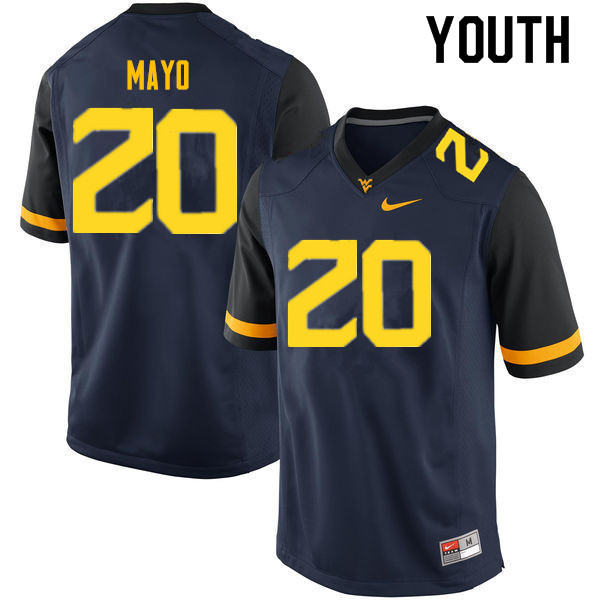 Youth #20 Tae Mayo West Virginia Mountaineers College Football Jerseys Sale-Navy