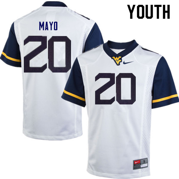 Youth #20 Tae Mayo West Virginia Mountaineers College Football Jerseys Sale-White