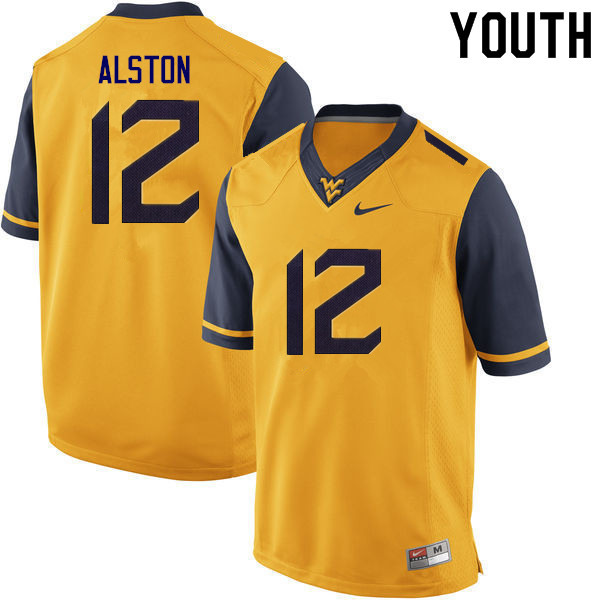 Youth #12 Taijh Alston West Virginia Mountaineers College Football Jerseys Sale-Gold