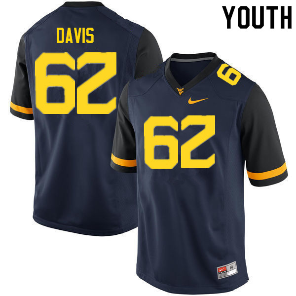 Youth #62 Zach Davis West Virginia Mountaineers College Football Jerseys Sale-Navy