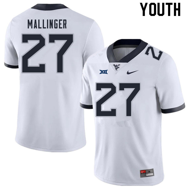 Youth #27 Davis Mallinger West Virginia Mountaineers College Football Jerseys Sale-White
