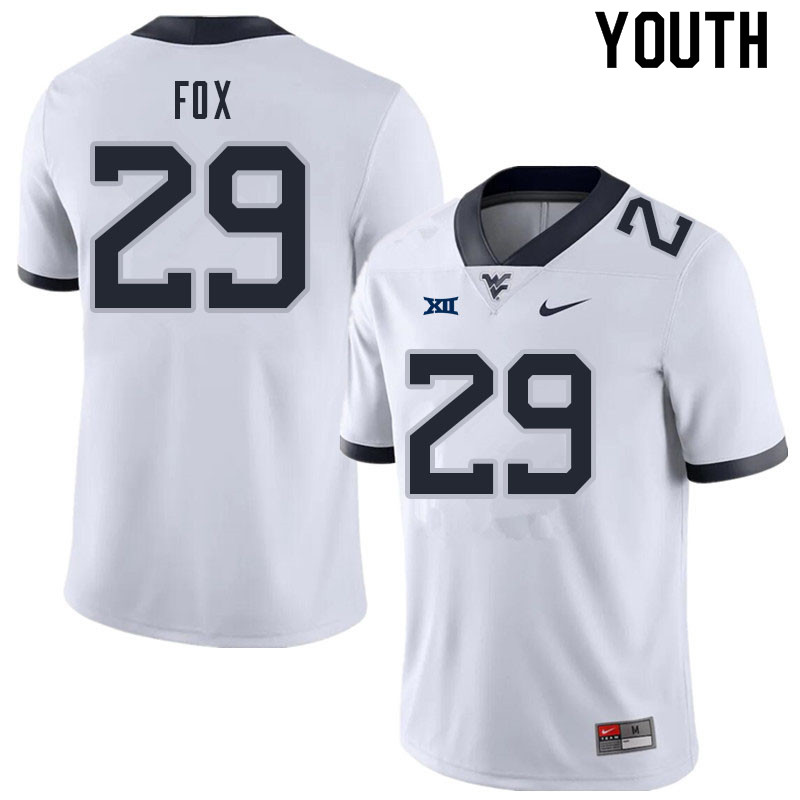 Youth #29 Preston Fox West Virginia Mountaineers College Football Jerseys Sale-White