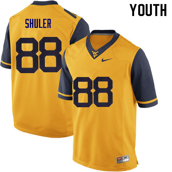Youth #88 Adam Shuler West Virginia Mountaineers College Football Jerseys Sale-Gold