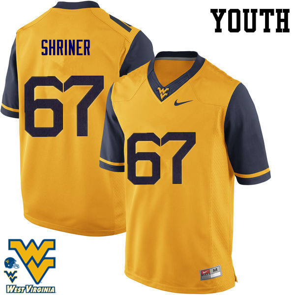 Youth #67 Alec Shriner West Virginia Mountaineers College Football Jerseys-Gold