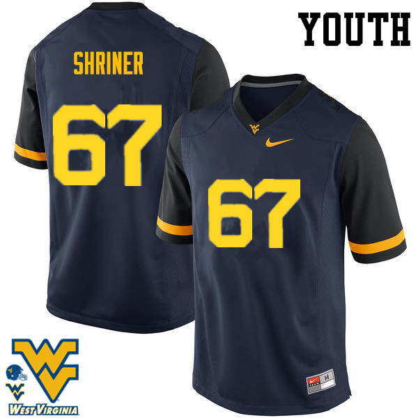 Youth #67 Alec Shriner West Virginia Mountaineers College Football Jerseys-Navy