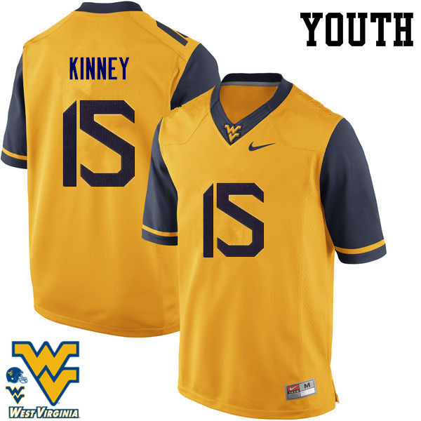 Youth #15 Billy Kinney West Virginia Mountaineers College Football Jerseys-Gold
