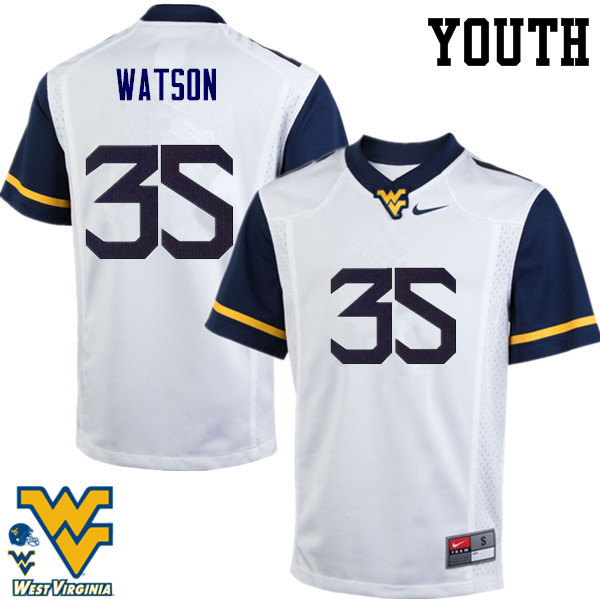 Youth #35 Brady Watson West Virginia Mountaineers College Football Jerseys-White