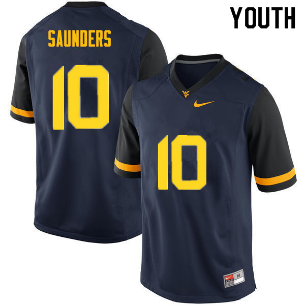 Youth #10 Cody Saunders West Virginia Mountaineers College Football Jerseys Sale-Navy