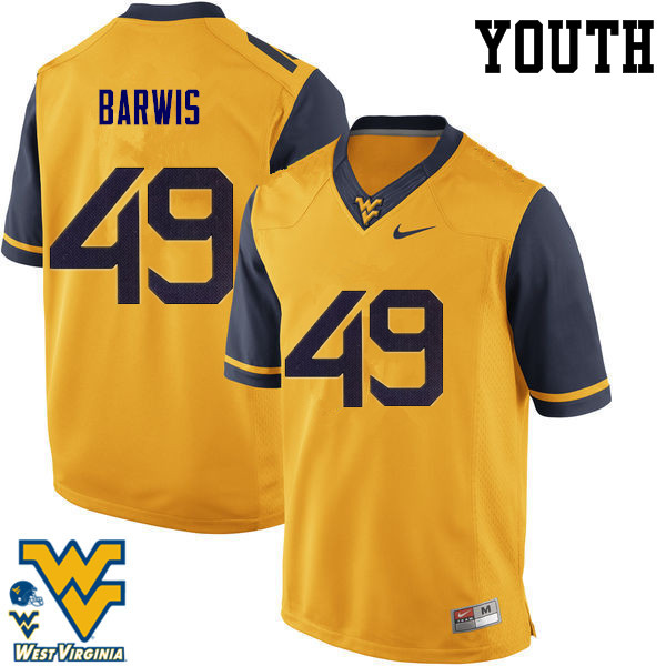 Youth #49 Connor Barwis West Virginia Mountaineers College Football Jerseys-Gold