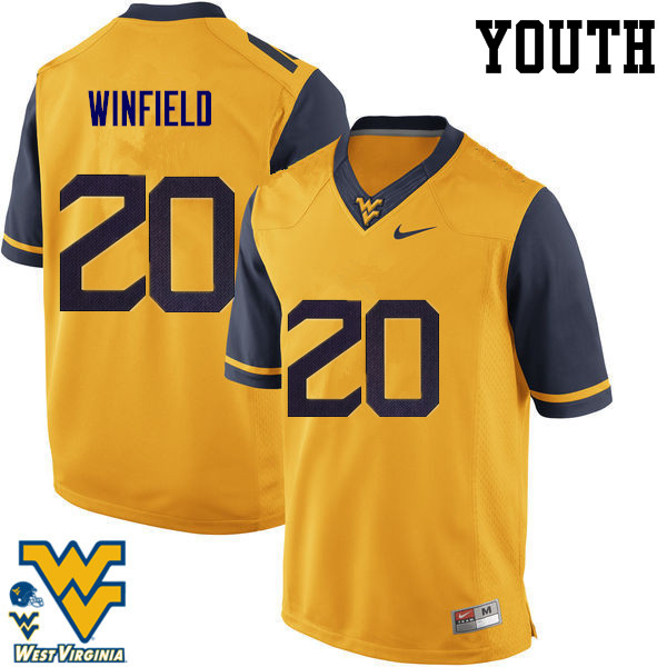 Youth #20 Corey Winfield West Virginia Mountaineers College Football Jerseys-Gold