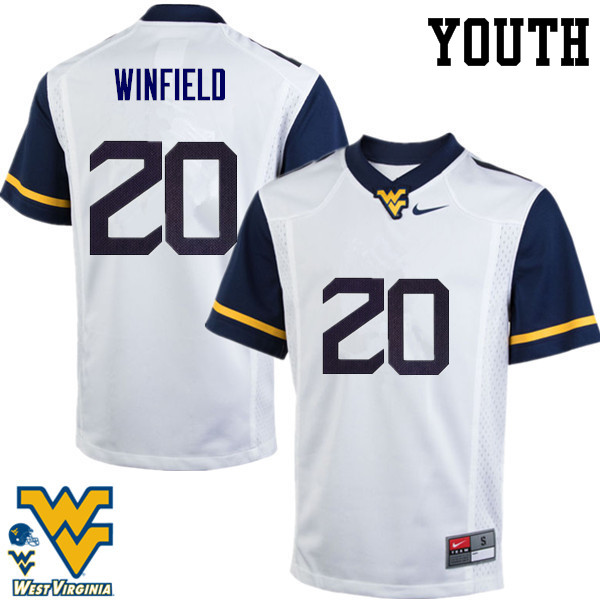 Youth #20 Corey Winfield West Virginia Mountaineers College Football Jerseys-White