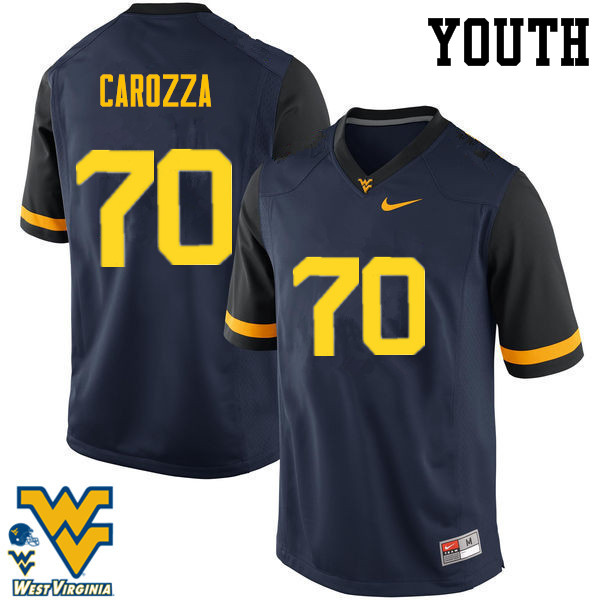 Youth #70 D.J. Carozza West Virginia Mountaineers College Football Jerseys-Navy
