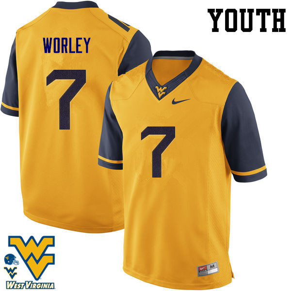Youth #7 Daryl Worley West Virginia Mountaineers College Football Jerseys-Gold