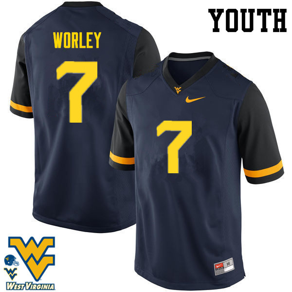Youth #7 Daryl Worley West Virginia Mountaineers College Football Jerseys-Navy