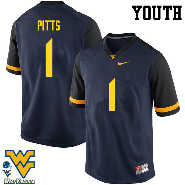 Youth #1 Derrek Pitts West Virginia Mountaineers College Football Jerseys-Navy