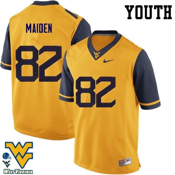 Youth #82 Dominique Maiden West Virginia Mountaineers College Football Jerseys-Gold