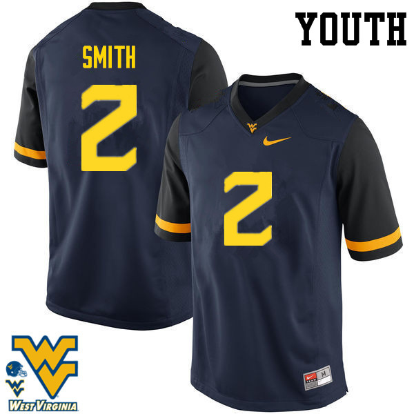 Youth #2 Dreamius Smith West Virginia Mountaineers College Football Jerseys-Navy