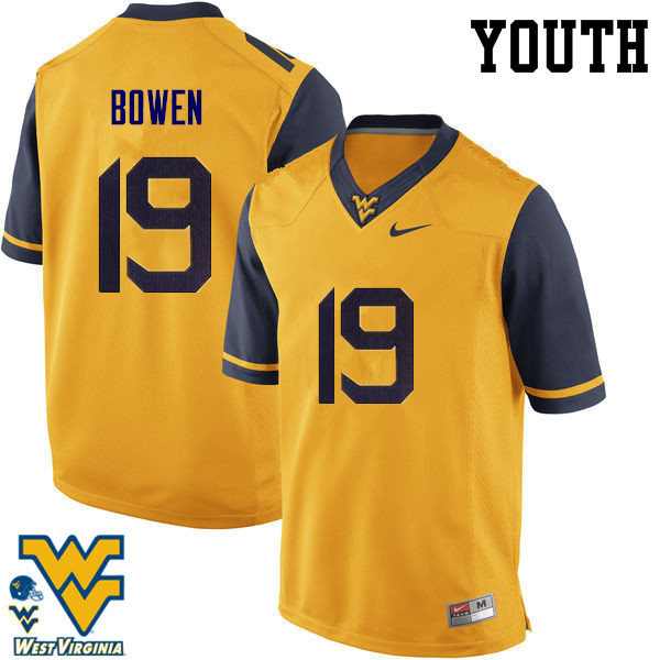 Youth #19 Druw Bowen West Virginia Mountaineers College Football Jerseys-Gold