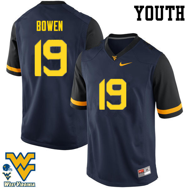 Youth #19 Druw Bowen West Virginia Mountaineers College Football Jerseys-Navy