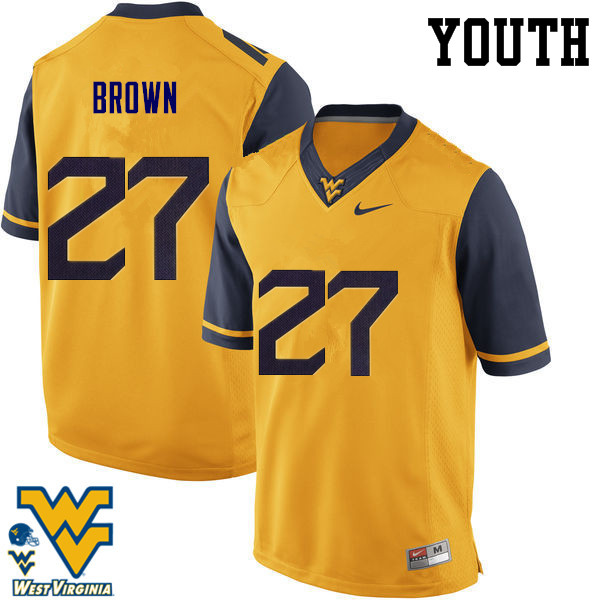 Youth #27 E.J. Brown West Virginia Mountaineers College Football Jerseys-Gold