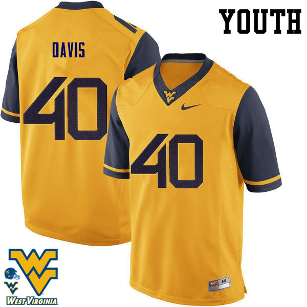 Youth #40 Fontez Davis West Virginia Mountaineers College Football Jerseys-Gold