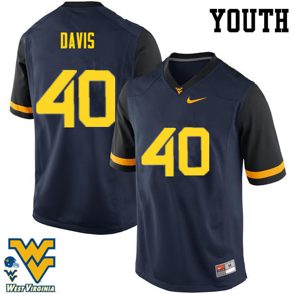 Youth #40 Fontez Davis West Virginia Mountaineers College Football Jerseys-Navy