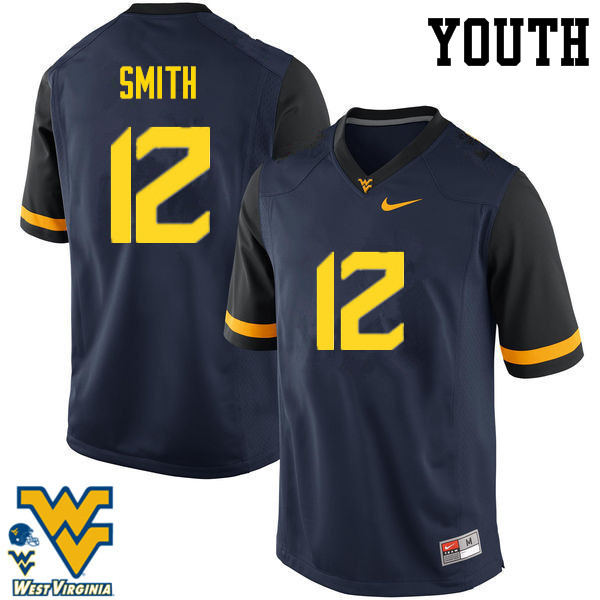 Youth #12 Geno Smith West Virginia Mountaineers College Football Jerseys-Navy