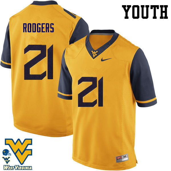 Youth #21 Ira Errett Rodgers West Virginia Mountaineers College Football Jerseys-Gold
