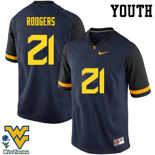 Youth #21 Ira Errett Rodgers West Virginia Mountaineers College Football Jerseys-Navy