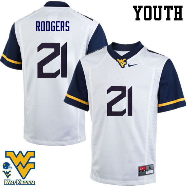 Youth #21 Ira Errett Rodgers West Virginia Mountaineers College Football Jerseys-White
